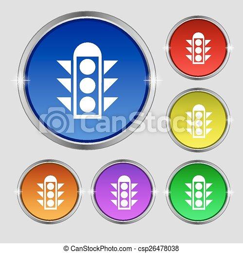 buttons., zeichen., licht, symbol, runder , hell, vektor, verkehr, bunter , signal, ikone - csp26478038
