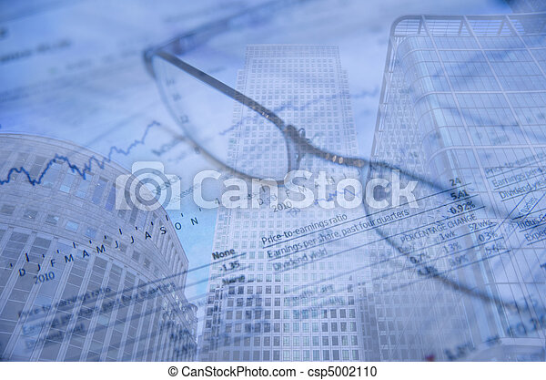Buusiness concept financial district modern skyscrapers - csp5002110