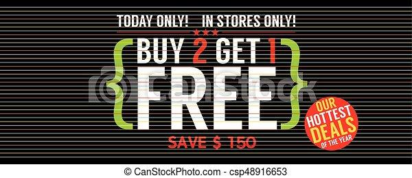 Buy 2 Get 1 Free Banner Vector Illustration - csp48916653