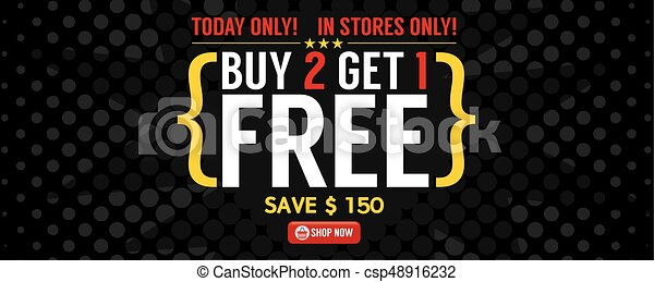 Buy 2 Get 1 Free Banner Vector Illustration - csp48916232