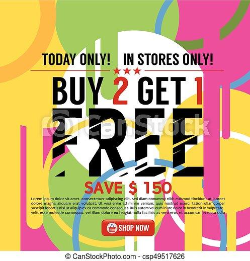 Buy 2 Get 1 Free Banner Vector Illustration - csp49517626