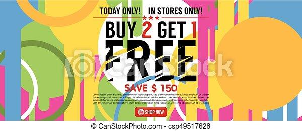 Buy 2 Get 1 Free Banner Vector Illustration - csp49517628