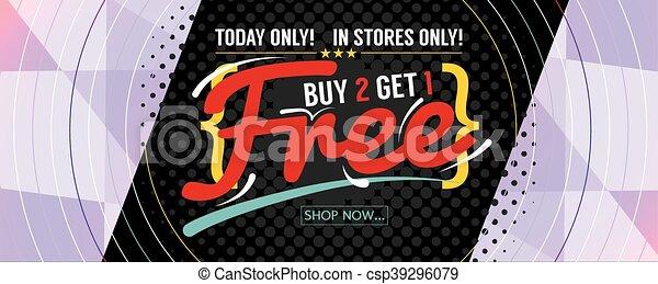 Buy 2 Get 1 Free Banner Vector - csp39296079