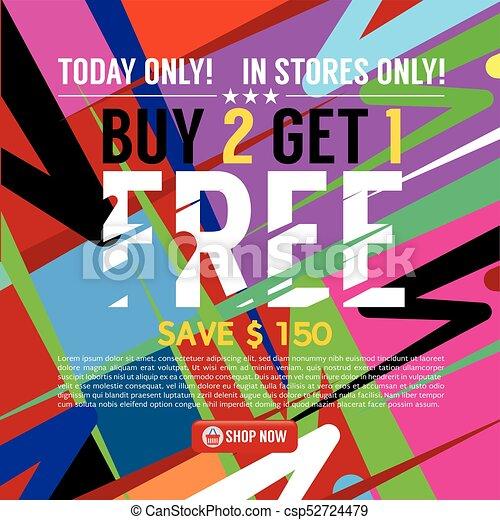 Buy 2 Get 1 Free Banner Vector Illustration - csp52724479