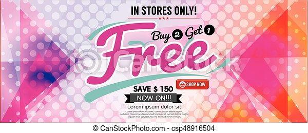 Buy 2 Get 1 Free Banner Vector Illustration - csp48916504