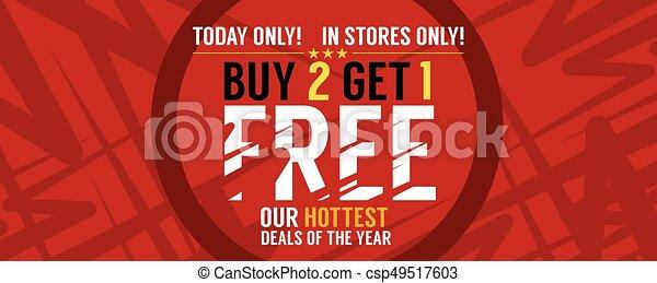 Buy 2 Get 1 Free Banner Vector Illustration - csp49517603