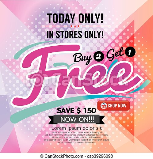 Buy 2 Get 1 Free Promotion Vector - csp39296098