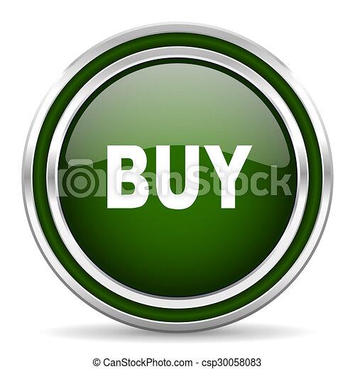 buy green glossy web icon - csp30058083