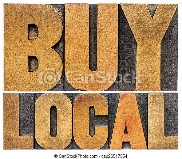 buy local words in wood type - csp26517354