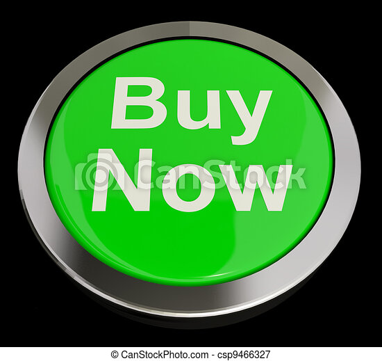 Buy Now Button In Green Showing Purchases And Online Shopping - csp9466327