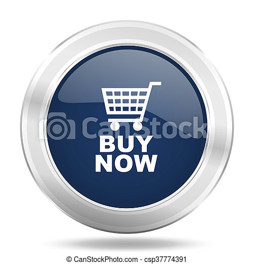 buy now icon, dark blue round metallic internet button, web and mobile app illustration - csp37774391