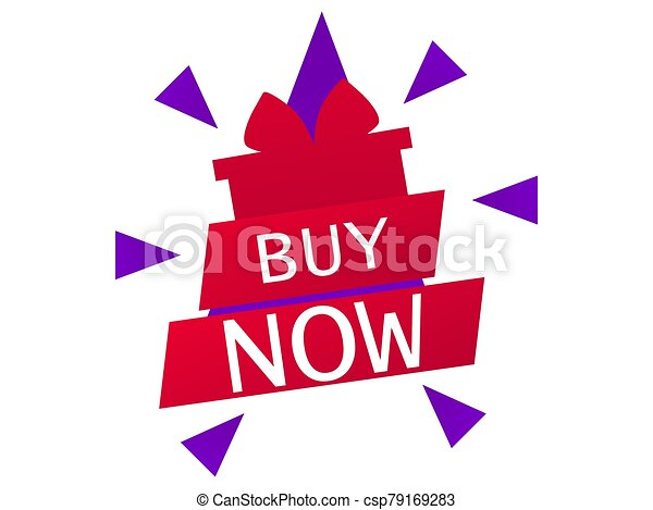 Buy now. Red gift box with ribbon in flat style isolated on white background. Big sale. Vector illustration - csp79169283