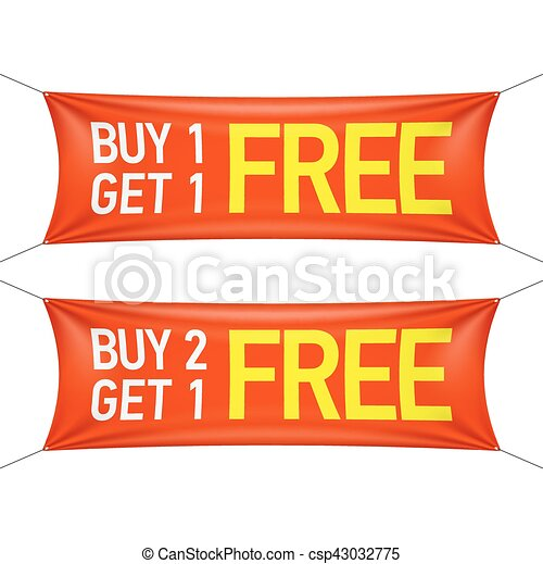buy one or two and get one for free banners vector illustration