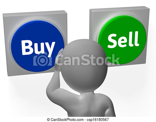 Buy Sell Buttons Show Trading Stocks Or Shares - csp16180567