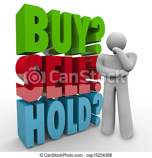 Buy Sell Hold 3D Words Investor Stock Market - csp15234368