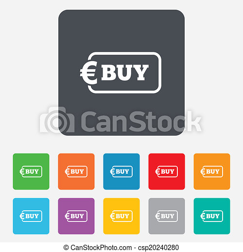 Buy sign icon. Online buying Euro button. - csp20240280