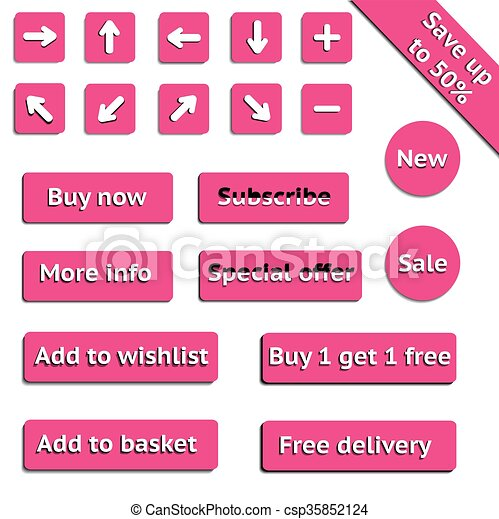 Buy web pink buttons for website or app - csp35852124