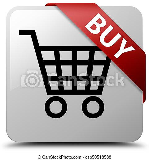 Buy white square button red ribbon in corner - csp50518588