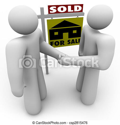 Buyer and Seller Handshake - For Sale Sign - csp2815476