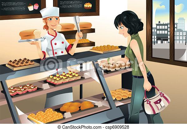 Buying cake at bakery store - csp6909528