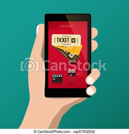 Buying Cinema - Movie Tickets Online on Smartphone Screen - csp57932242