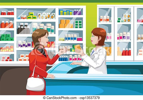 Buying medicine in pharmacy - csp13537379