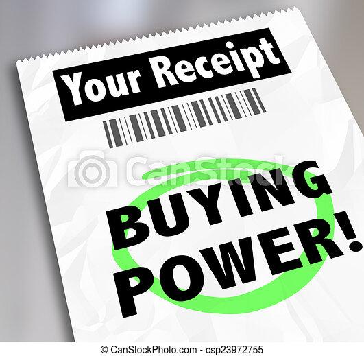 Buying Power  >> Buying Power Words Paper Receipt Purchase Shopping Saving Money