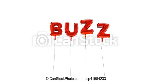 BUZZ - word made from red foil balloons - 3D rendered. - csp41584233