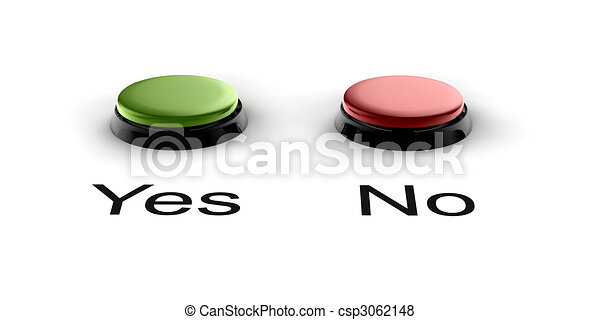 A Green And Red Buzzer Button For Yes No Stock Illustration