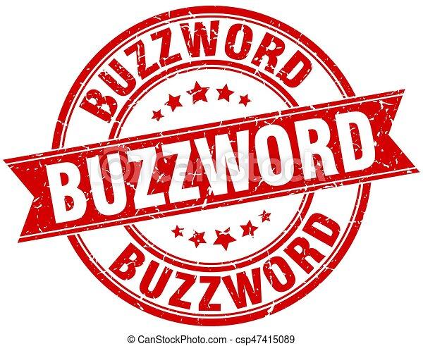 buzzword round grunge ribbon stamp - csp47415089