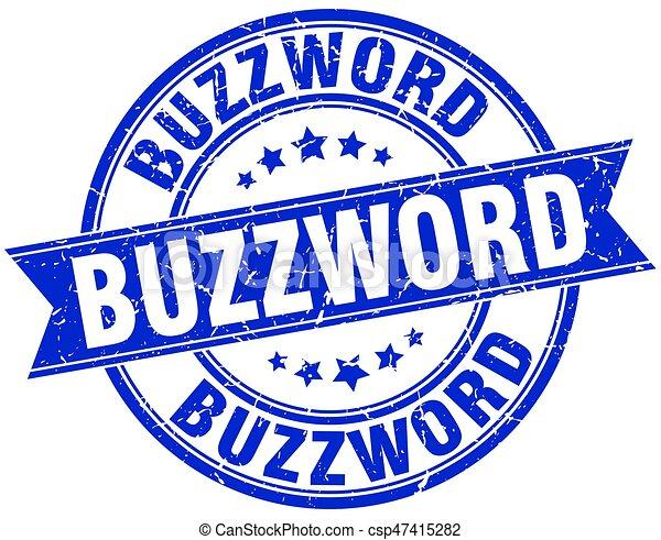 buzzword round grunge ribbon stamp - csp47415282