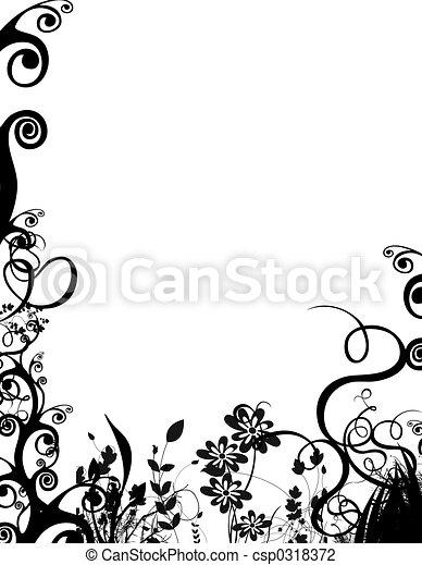 bw foliage border - csp0318372