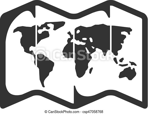 Bw icon world map road map icon in single grey color clip art bw icon world map csp47058768 gumiabroncs Choice Image