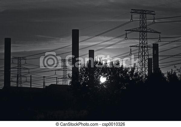 B&W industrial sky - csp0010326
