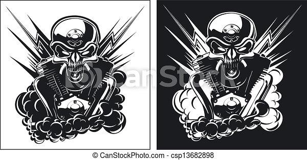 B&W skull with engine set - csp13682898