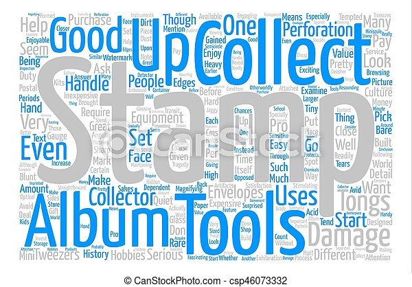 BWS stamp tools text background word cloud concept