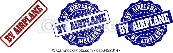 BY AIRPLANE Scratched Stamp Seals - csp64328147