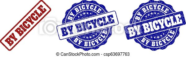 BY BICYCLE Grunge Stamp Seals - csp63697763