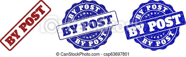 BY POST Scratched Stamp Seals - csp63697801