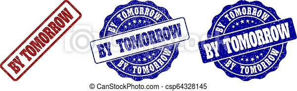 BY TOMORROW Scratched Stamp Seals - csp64328145