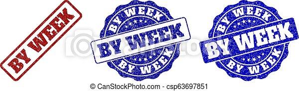 BY WEEK Grunge Stamp Seals - csp63697851