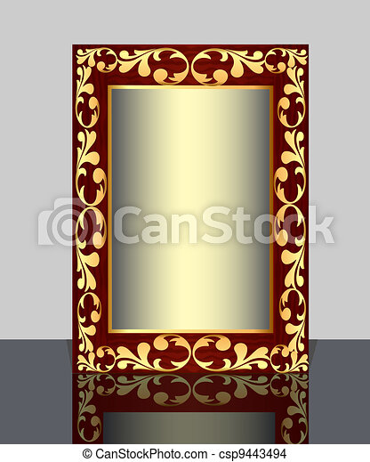 by wooden frame with vegetable gold(en) pattern and reflection - csp9443494