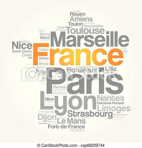 Byar Stader Lista Frankrike Karta Begrepp Ord Affar Collage Resa Lista Frankrike Bakgrund Byar Stader Moln