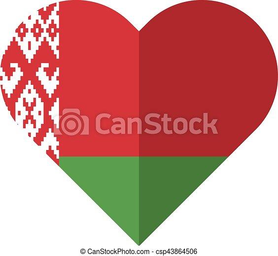 Byelorussia flat heart flag - csp43864506
