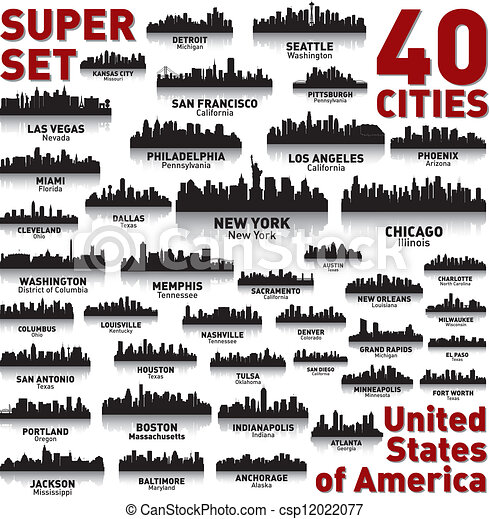 byen, foren, utrolige, set., skyline, fastslår, america. - csp12022077