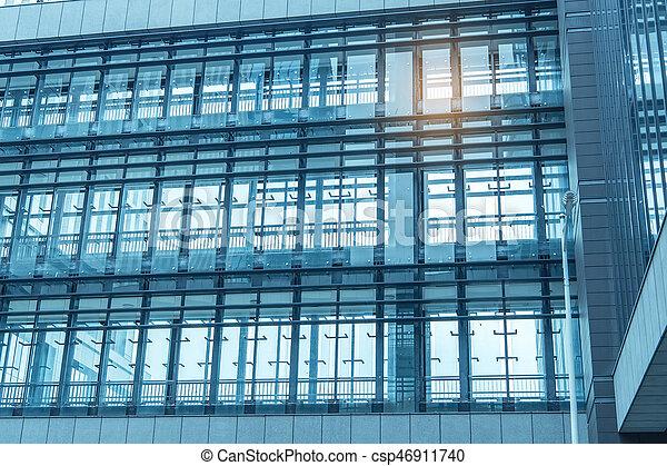 byggnad, blå, kontor, vägg, samtidig, specificera, glas - csp46911740