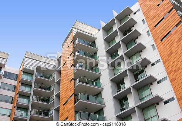 byggnad, bostads, lägenhet, nymodig - csp2118018
