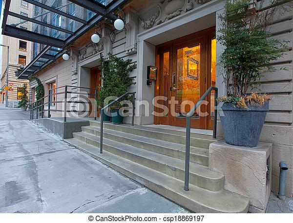 byggnad, hänrycka, nymodig, dörr, lyxvara - csp18869197