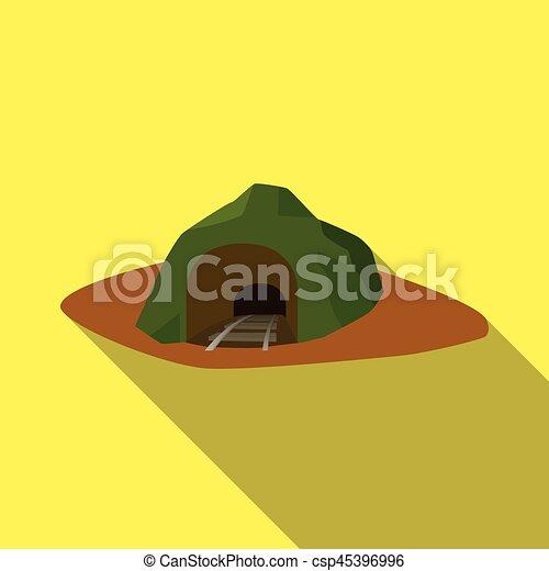 byt, vchod, illustration., ikona, vagón, píle, mina, móda, grass., vektor, bydliště, pokrytý, fall.mine, kam, znak, svobodný, kmen - csp45396996