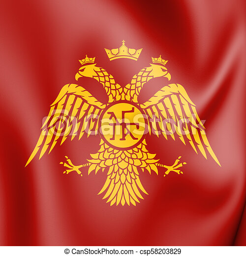 byzantine eagle flag of palaiologos dynasty 3d illustration